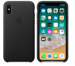 Чехол для iPhone X Apple Leather Case, black (MQTD2ZM/A)