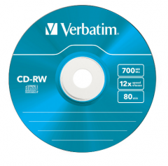 "Диск CD-RW Verbatim ""Colours"" 700MB, 8х-12x,SLIM-футляр 43167"